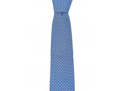 Světle modrá twin kravata s rybičkovým vzorem