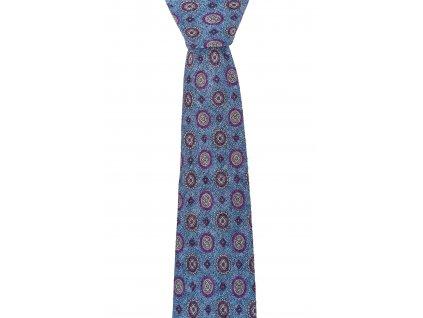 Modro-šedá twin kravata s fuchsiovým vzorem