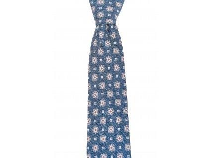 Modro-šedá twin kravata s béžovým vzorem
