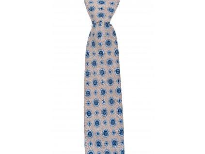 Béžová twin kravata s tmavomodrým vzorem
