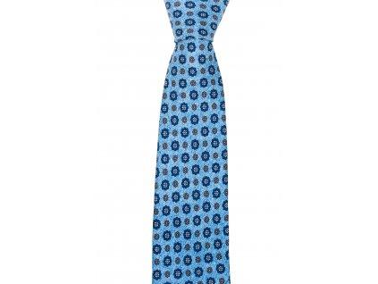Světle modrá twin kravata s velkými květy