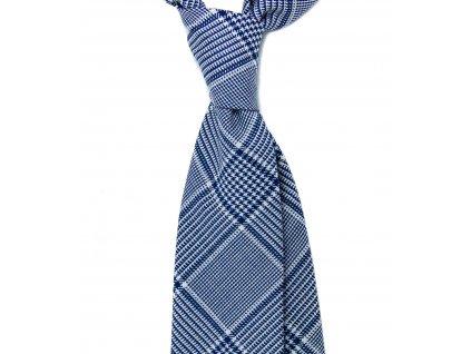 Modro-bílá kravata s károvaným vzorem