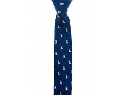 Tmavě modrá kravata se psy