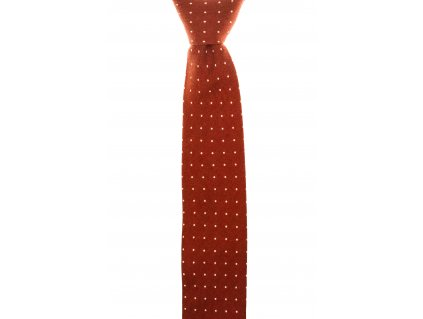 Oranžová twin kravata s puntíky