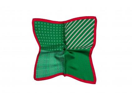 Zelený kapesníček s červeným okrajem variabilní