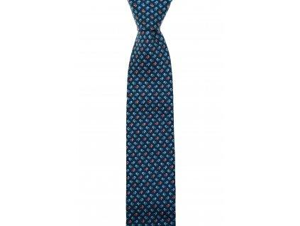 Tmavě modrá twin kravata s modro-oranžovými autíčky