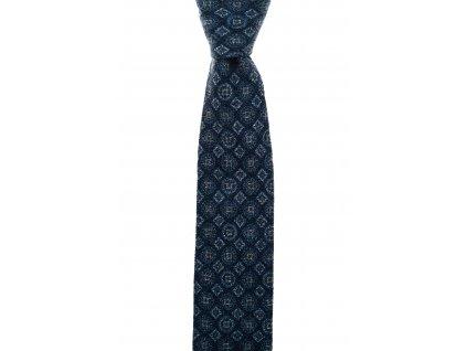 Tmavě modrá twin kravata s tmavě modrým vzorem