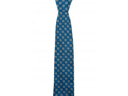 Modrá kravata s hnědými kvítky