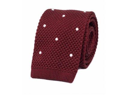 Vínová pletená kravata s puntíky