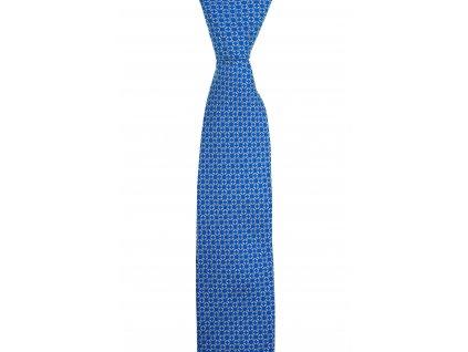 Modrá twin kravata s řetízkovým vzorem