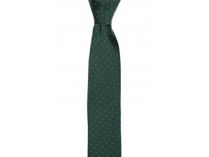 Tmavě zelená kravata s bílými puntíky