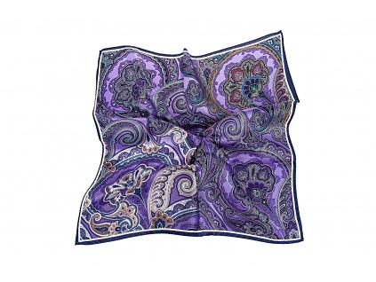 Fialový velký kapesníček s ornamentem