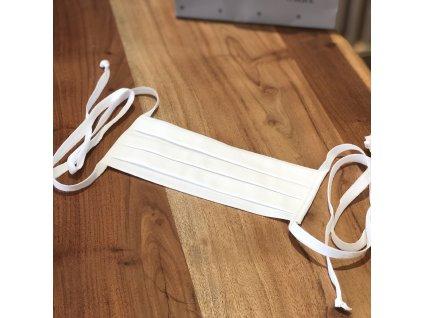 Skládaná bavlněná dvouvrstvá rouška se šňůrkami a kapsou na filtr