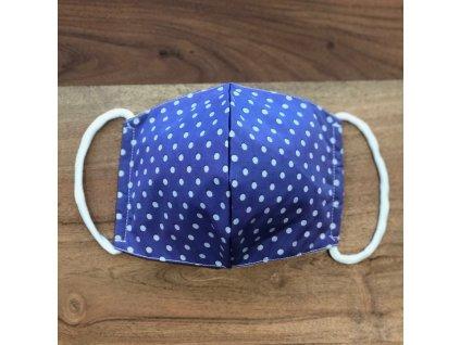 Tvarovaná bavlněná rouška fialová s šedými puntíky