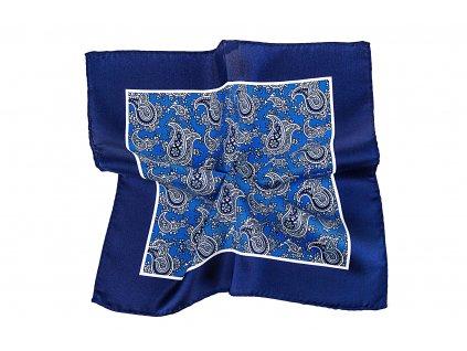 Tmavě modrý kapesníček s ornamentem a okrajem