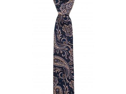 Tmavě modrá kravata se zlatavým paisley vzorem