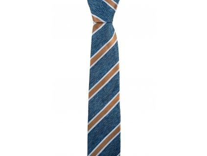 Modrá kravata se zlatými pruhy