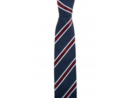 Tmavě modrá twin kravata s vínovými pruhy