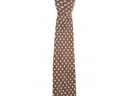 Hnědá twin kravata s bílým vzorem