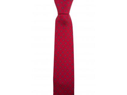 Červená twin kravata s modrými květinami