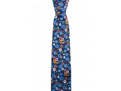 Tmavě modrá twin kravata s květinami