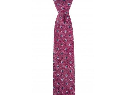 Vínová bavlněná kravata se vzorem