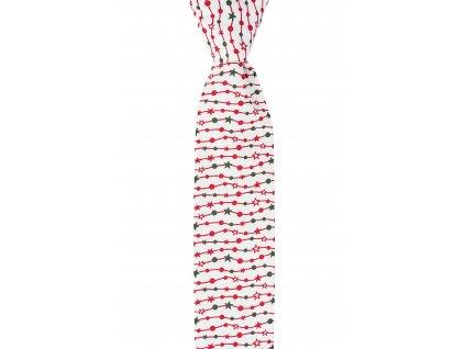 Bílá twin kravata s vánočním motivem