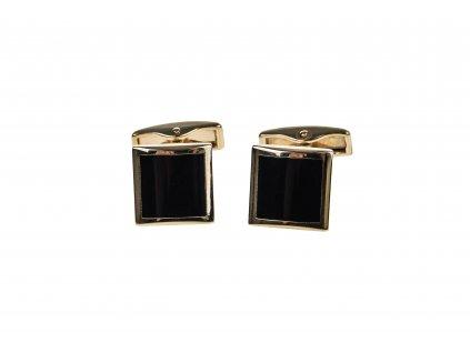 Čtvercové manžetové knoflíčky zlaté s černým vnitřkem