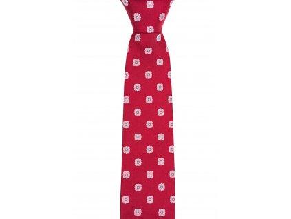 Červená kravata se vzorem