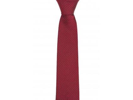 Tmavě červená kravata s jemným vzorem