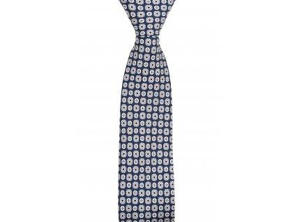 Tmavě modrá twin kravata s béžovým vzorem