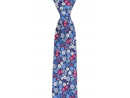 Modrá twin kravata s květy