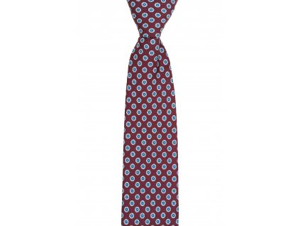 Vínová kravata s modro-béžovým vzorem
