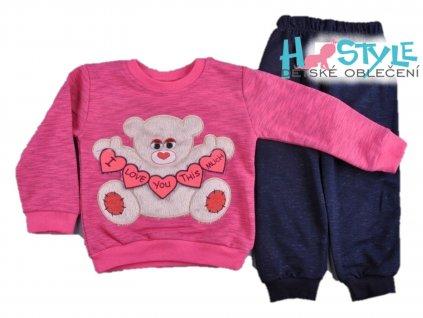 Tepláková souprava dívčí růžová - 53552