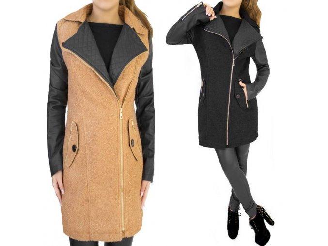 kabát čierny a hnedý