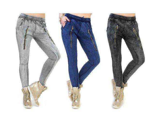 Baggy nohavice sivé, modré, čierno sivé