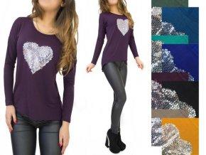 Tričko srdce fialove mix farieb
