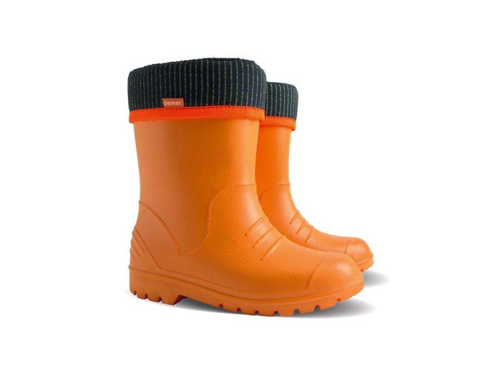 Dětské ultralehké holínky  DEMAR DINO C oranžové