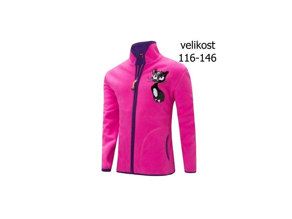 WOLF dívčí růžová fleecová mikina B2835 vel. 116-146
