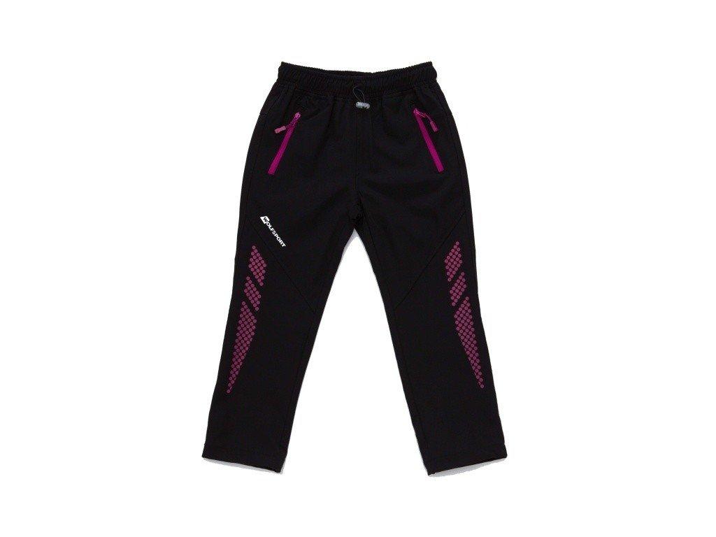 WOLF softshellové nezateplené kalhoty černé s fialovou B2986 vel. 98-128