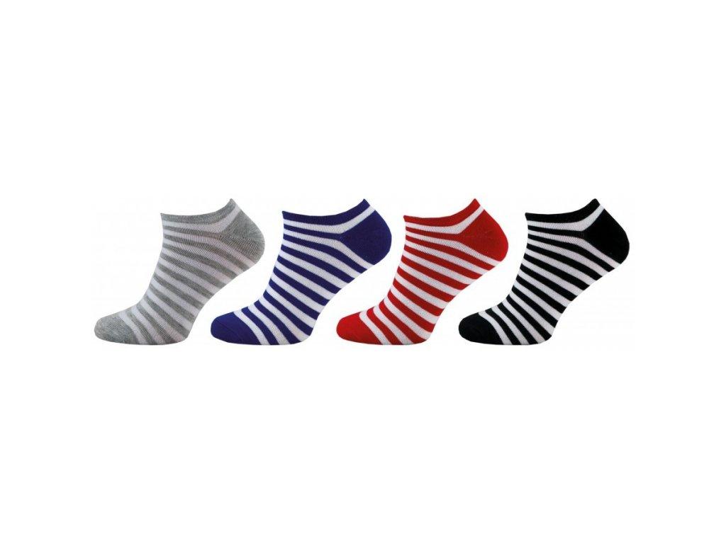 NOVIA dámské kotníkové ponožky PROUŽKY 4 páry
