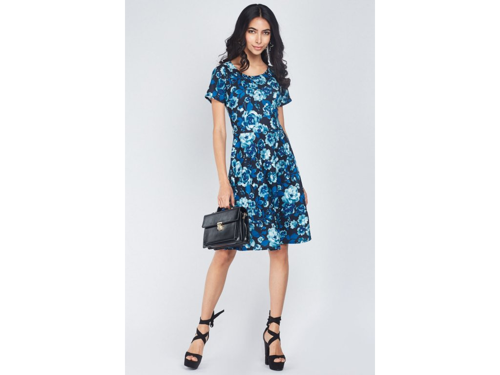 digital rose printed swing dress charcoal multi 112677 5