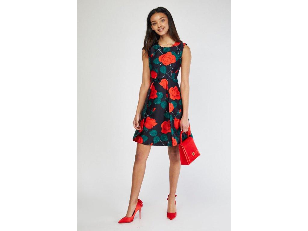box pleated rose flower dress navy multi 111785 4