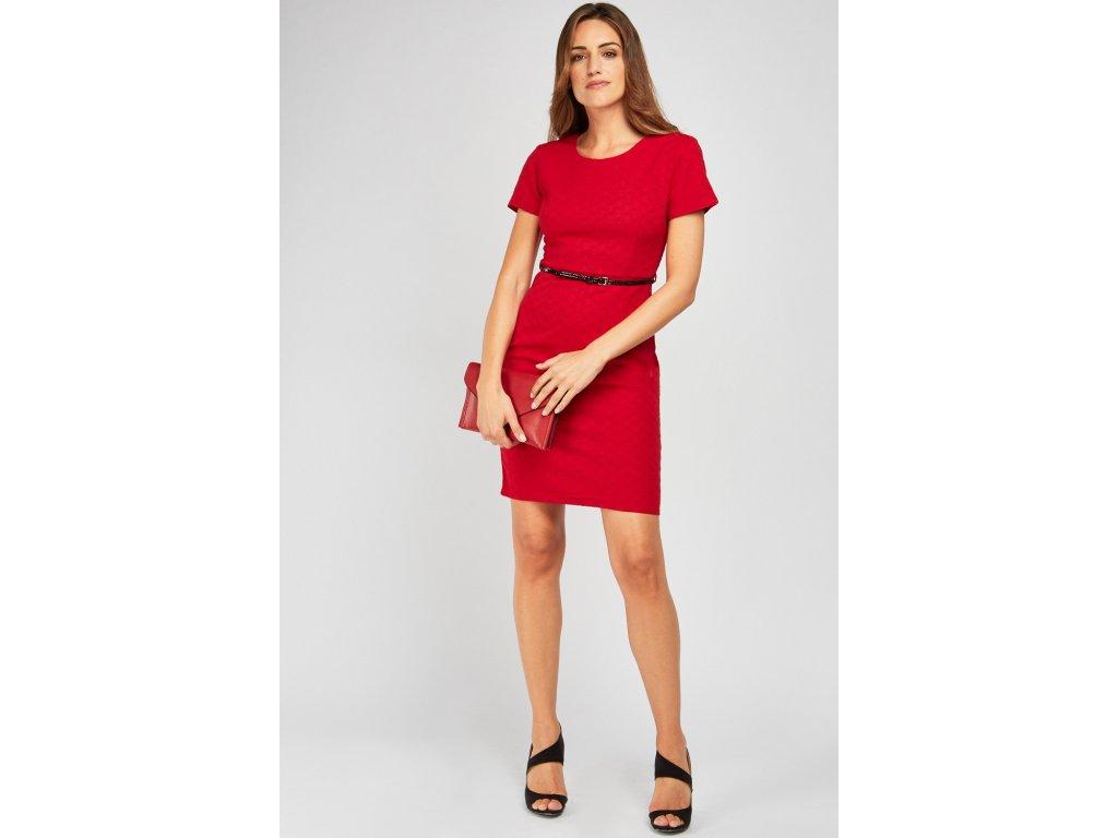 belted midi textured dress burgundy 119146 4