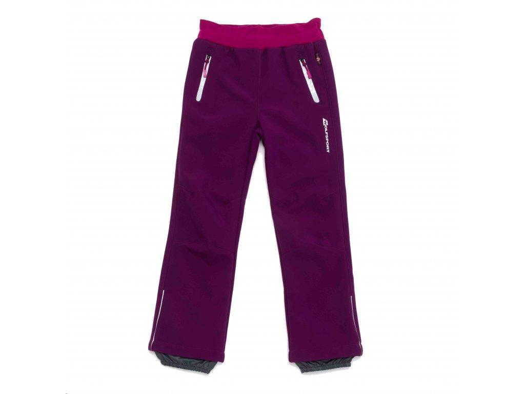 Dívčí zateplené softshellové kalhoty fialové Wolf B2992 vel. 116-146