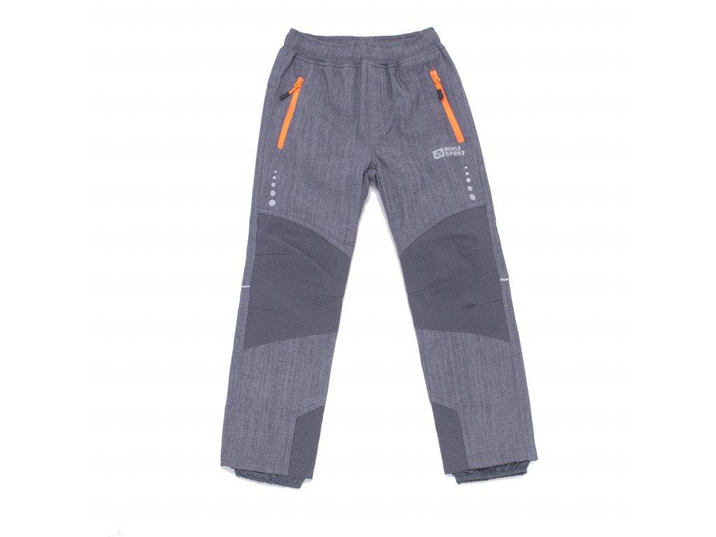 Chlapecké zateplené softshellové kalhoty šedé Wolf B2997 vel. 116-146