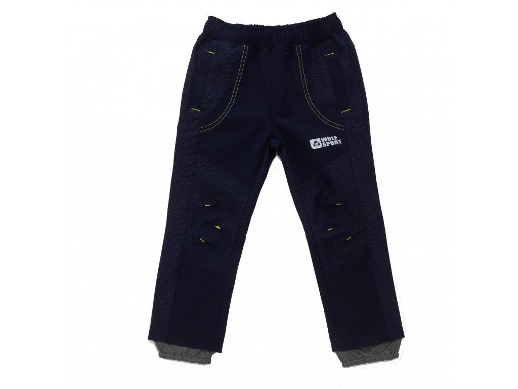 Chlapecké softshellové kalhoty tm. modré Wolf B2083 vel. 92-110