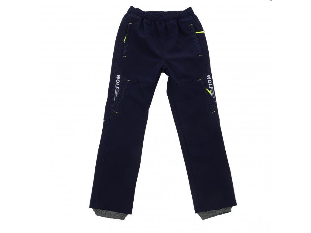 Chlapecké softshellové kalhoty tm. modré Wolf B2084 vel. 116-146