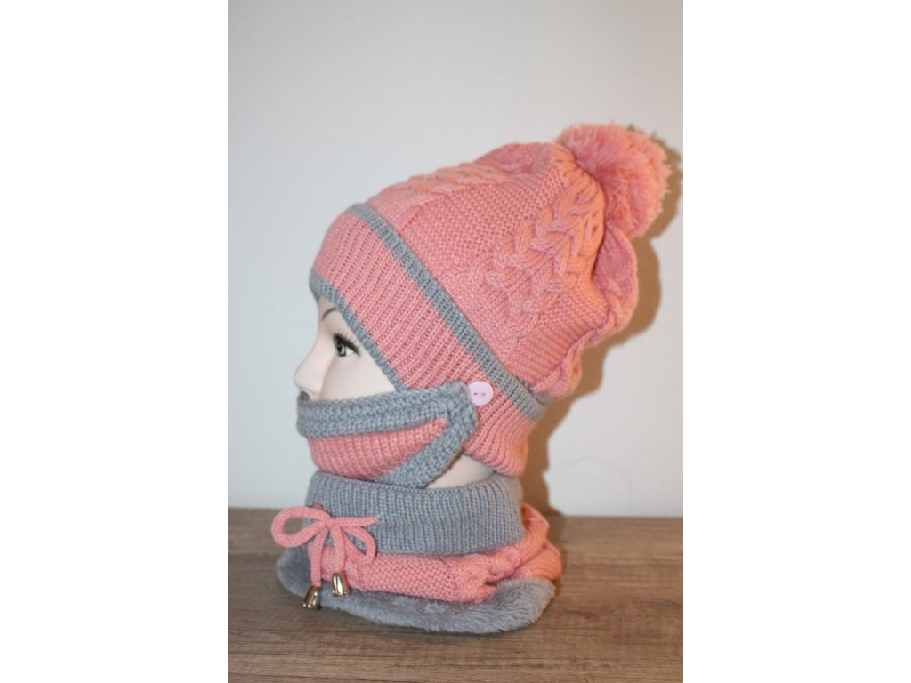Pletená čepice s nákrčníkem