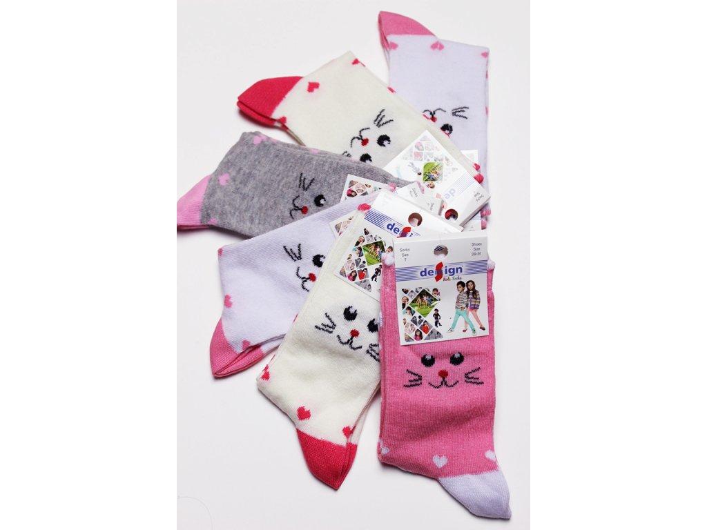 Dětské ponožky s kočičkou vel. 26-28